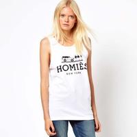 Free Shipping+  brand LOGO print white homies female vest  full
