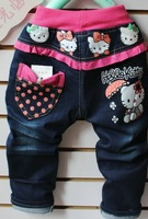 free shipping Retail boy's jeans/pants  girls fall  denim trousers, children jeans fashion children's trousers hello kitty jeans