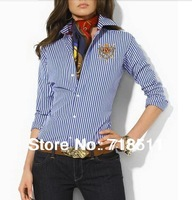 Free Shipping Long Sleeves Polo  brand rl Blouse Cardigan Striped Blouse Polo Shirt Women