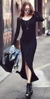 2013 Winter New Sexy Black Asymmetrical Night Dress Fashion Split Floor-Length Skirt Free Shipping