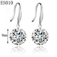 Women's Platinum Plated Copper AAA+ Top Quality Swiss Crystal Penant Engagement Earrings,Free Shipping Wholesale 10pairs/lot