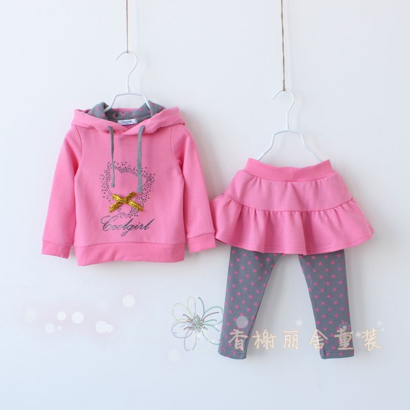 Soft cotton 2014 Spring Autumn kids fasion hooded clothes sets girls cute cartoon clothes suits(hoodies+dress)(China (Mainland))