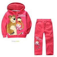 2013 new! Retail children clothing set, Baby Girls Masha Bear Warm Suit, hoody jacket+pants cartoon clothes kids sportswear
