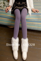 Autumn And Winter With Velvet High Elastic   Double Bamboo Charcoal Cropped Trouse Warm  Leggings