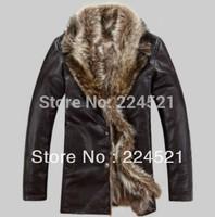 Leather clothing sheepskin wool one piece turn-down collar casual man genuine leather fur coat