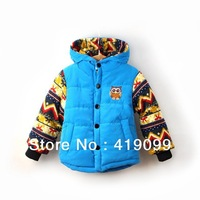 2013 New kids down & parkas baby boy winter thicken patchwork coat winter jackets for boys children outerwear 5pcs/lot wholesale