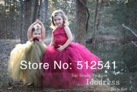 2014 NEW Shinning Flower Girl Dresses Ball Gown Halter Organza Floor Length Bandage Custom made gowns yk8R196