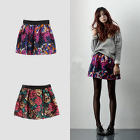 Women's Spring and Summer Wool Skirt Floral Print Short Skirt Printed Mini Skirt Free Shipping  SP069