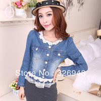 Lace stitching denim jacket denim jacket for women fashion jeans
