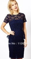 Awear  hot  selling mini  party  lace  ladies  dress,  available stock  goods  with quickly  delivery  and free of shipping