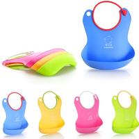 Factory Price 2pcs/ lot Waterproof Baby Bibs Soft Silica Gel Bibs Infant Feeding Baby Kids Bibs Toddler Bibs Free shipping WZ001