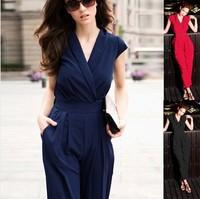 2014 HOT SALE women's boutique black V-Neck short sleeve double poket elastic waist jumpsuit England style one piece clothes