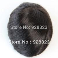 "Free Shipping 8""x6"" Mono Base Pu Around Men's Toupee Indian Natural Straight Hair Colour 1B In Stock Toupees"