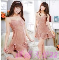 Sexy sleepwear V-neck female summer silk spaghetti strap transparent nightgown lace underwear set temptation