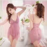 Sexy sleepwear spaghetti strap female twinset dress sleepwear temptation underwear transparent lace set