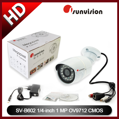 Free shipping, 2013 newt 1/4 inch 720P Cmos Digital Bullet IP Camera Waterproof Support P2P Onvif Two-way Audio(China (Mainland))