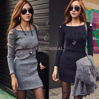 2013 Autumn Women's Slim Party Dress Sexy Strapless Fall sweater Club Dress 2 Color Free Shipping 19431