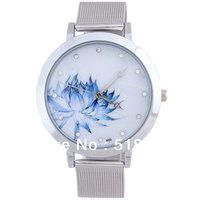 On Sale! 5  Pcs Fashion Blue Lotus Stainless Steel Mesh Quartz Wrist Watch Women Gifts