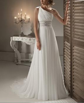 Дешевой цене! 2014 новый бесплатная доставка бисероплетение одно плечо белый / кот свадебные платья вл 2042 в наличии