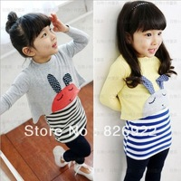 Hot !! Korea Spring Fashion Kids 5pcs Wholesale Cotton Long sleeve Stripe Package hip Piece Girls Dress Free shipping
