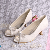 Free Shipping Lace Bride Shoes Low Heels Ivory Pumps With Bow Women Shoes Peep Toe