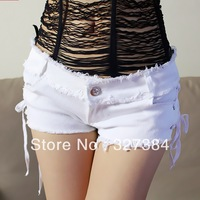 PS1100 Female Low Waist Jeans Shorts Black White Color Side Lace Fashion Tight Sexy Hip-hop Spice Lady Short Pants Free Shipping