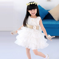White hot selling summer new splicing chiffon cake fluffy yarn of the girls princess dress skirt Party Bow dress #KS0077