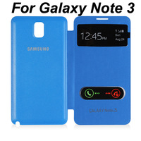 10pcs Wholesale Double S View Window Flip Cover Case For Samsung Galaxy Note 3 N9000, Swipe To Accept / Reject Incoming Call