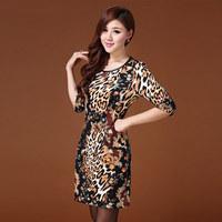Fashion Famous Designer Plus Size Sexy Bodycon Leopard Vintage Vestido Zipper Clothing European Ladies Shirts Women's Dress