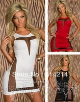 New women sexy perspective gauze stitching tight dress skirt package hip nightclub dress