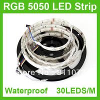 10PCS/LOT 5M/ROLL 5050 SMD RGB 150 LED 30LED/M Strip Light Waterproof IP65