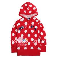 2014 new arrival Free shipping children clothing baby girls hooded sweatershirt girls polka dot peppa pig sweatershirt 1-6years