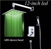 "Wall Mount LED Brass  Shower Set 12"" ABS Shower Head + ABS Handheld Shower Chrome"