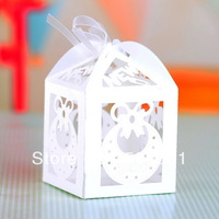 Free shipping Baby favors candy box laser cut box