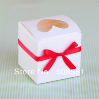Free shipping White Hear-Shaped single cupcake box