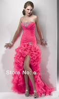 Ready to ship in store + Free shipping Best quality high low front short strapless pink prom dress long with crystal for women
