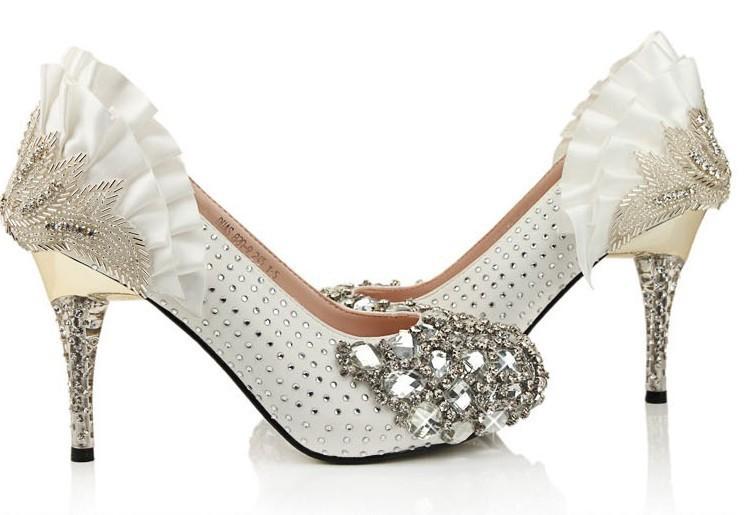Rhinestone high heels bridal prom dress shoes christmas party jpg