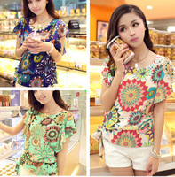 New fashion women Loose Big size chiffon casual vintage Blouses Flowers printed O-neck, summer costume shirts