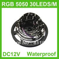 BLACK PCB 5M/ROLL 5050 SMD RGB 150 LED 30LED/M Strip Light Waterproof IP65