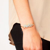 Free Shipping HQ Big Brand Same Style Fashion 'HELLO' Sign Trend All-match Channel Setting Bangles Exquisite Jewelry for Woman