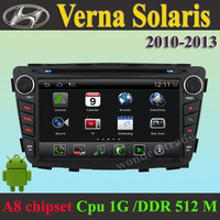 Car DVD Player Android GPS Navigation Hyundai Solaris Verna 2010 2011 2012 +3G WIFI + DVR +1GB cpu+ DDR 512M RAM + A8 Chipset