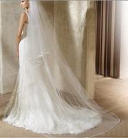 Single Layer Floor Length Long Tail Wedding Bridal Prom Veils Mantilla 3m White Free Drop Shipping
