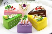 High artificial cake multicolour triangle cake model PU material soft super fruit fake cake 6pcs/set --7cm