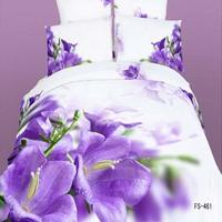 Romantic 100% cotton purple flowers 3d Oil painting effect reactive printed Queen size 4pcs bedding set B2103 Air shipping