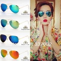 Free Shipping 2014 New Fashion Glasses Tempered Glass Classic Sunglasses Man Women Sunglasses