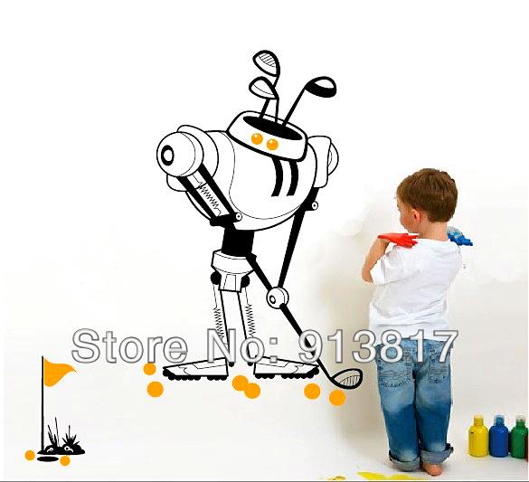 Kid Golf Cartoon Golf Robot Cartoon Boy's