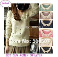 2014 High-quality Small fresh Fashion paillette collar mohair dot polka dot explaines long-sleeve sweater women sweater BAF2718