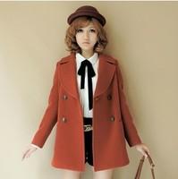 2013 autumn and winter preppy style medium-long slim plus size wool woolen overcoat outerwear female