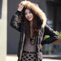 2013 women's medium-long slim large fur collar women's wadded jacket cotton-padded jacket outerwear thickening female