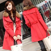 2013 autumn and winter women slim medium-long wool collar woolen cloak overcoat woolen outerwear